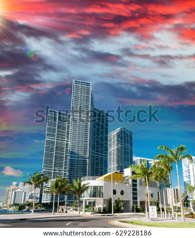 Miami, Florida. Beautiful city skyline at dusk.
