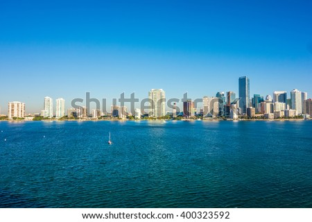Miami Florida city skyline morning with blue sky - stock photo