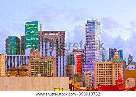 Miami Florida, illuminated downtown banks and office buildings at sunset, famous travel destination