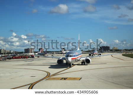MIAMI, FLORIDA - JUNE 1, 2016: American Airlines plane on tarmac at Miami International Airport. American Airlines operates 274 flights every day from Miami - stock photo