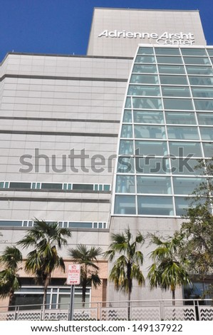 MIAMI, FLORIDA - NOVEMBER 25: Adrienne Arsht Center for the Performing Arts in Miami, Florida, on November 25, 2012. It is Florida's largest performing arts center and one of the largest in the US. - stock photo