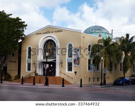 MIAMI, FLORIDA - NOVEMBER 11, 2012: The Jewish Museum of Florida, on Washington Ave. in the South Beach section of Miami, FL.  - stock photo