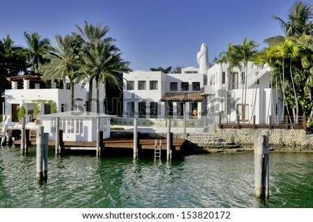 MIAMI FLORIDA-OCTOBER 30:House in Star Island is a neighborhood of South Beach in the city of Miami Beach on a man-made island in Biscayne Bay, Florida, United States. On October 30 2012 in Miami, USA