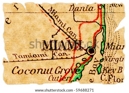 Miami, Florida on an old torn map from 1949, isolated. Part of the old map series.