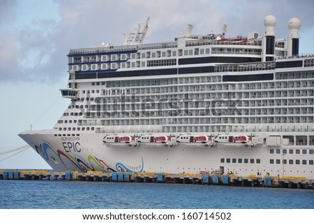 MIAMI, FLORIDA - SEPT 9: Norwegian Epic, docked in Costa Maya, Mexico, as seen on September 9, 2010. When built in 2010, it was the third largest cruise ship in the world.