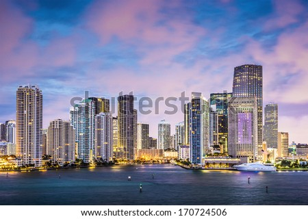 Miami, Florida skyline at Brickell Key and Miami River. - stock photo