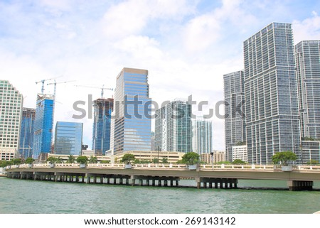 Miami, Florida skyline from Brickell Key. USA