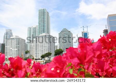 Miami, Florida skyline from Brickell Key. USA - stock photo