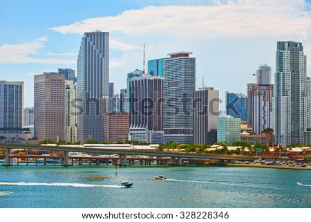 Miami Florida; skyline of downtown colorful skyscraper buildings