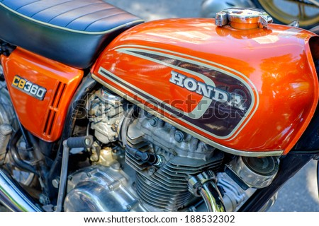 MIAMI, FLORIDA USA -?? APRIL 12, 2014: Close up of a vintage Honda motorcycle on display at the Old Soul Young Blood Vintage Motorcycle festival. - stock photo