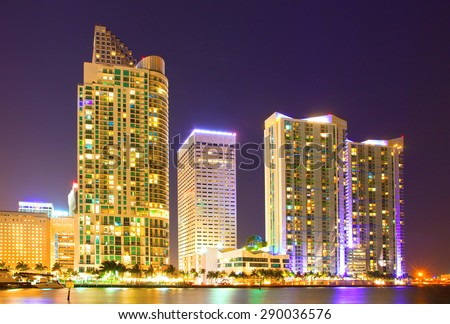 Miami Florida USA, famous travel destination, downtown modern illuminated buildings at night