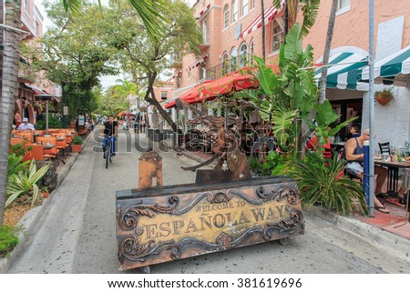 MIAMI FLORIDA, USA � FEBRUARY 23, 2016: Espanola Way in Miami Beach is a popular pedestrianised stretch of bars, restaurants and shops and has been used as a filming location for various TV shows - stock photo