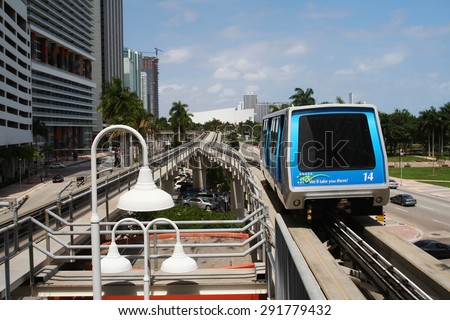 MIAMI, FLORIDA USA - MARCH 22, 2008:  fully automated Miami downtown train with sky railway. - stock photo