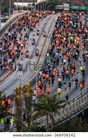MIAMI - JANUARY 24th : Runners in the Miami Marathon on January, 24, 2016 in Miami, FL. Miami Marathon has been one of the fastest-growing annual marathons, attracting world-class distance runners.