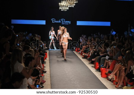 MIAMI - JULY 14: Model walks runway at the Beach Bunny Swimsuit Collection for Spring/ Summer 2012 during Mercedes-Benz Swim Fashion Week on July 14, 2011 in Miami, FL