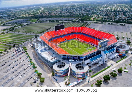 MIAMI-OCTOBER 25: Sun Life Stadium in Miami, FL on October 25,2010. Home of the Miami Dolphins (NFL) and Florida Marlins (MLB) from 1993 to 2011, it opened in 1987 and has a capacity of 80000 - stock photo
