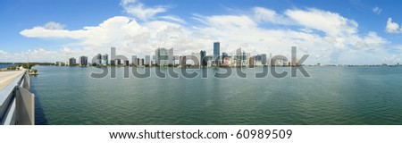 Miami Panorama from Rickenbacker Causeway Bridge - stock photo