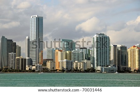 Miami's downtown seen from the side of Miami Beach