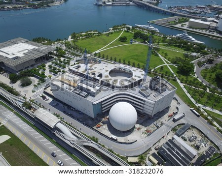 MIAMI - SEPTEMBER 9: Aerial image of the new Frost Museum of Science under construction at Downtown Miami which will have an aquarium and Planetarium September 9, 2015 in Miami FL - stock photo