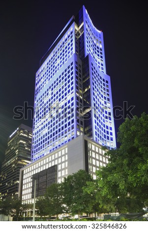 MIAMI - SEPTEMBER 25: Night photo of Brickell World Center located at 600 Brickell Avenue and was completed in 2011 at a height of 520 feet September 25, 2015 in Miami FL - stock photo