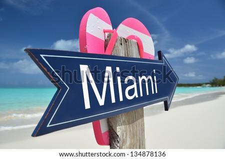 Miami sign on the beach - stock photo