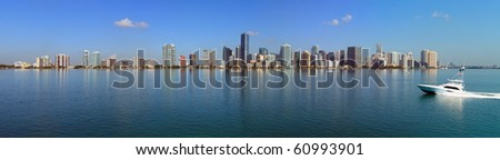 Miami Skyline and Biscayne Bay Panorama - stock photo