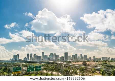 Miami skyline and highways - Daytime - stock photo