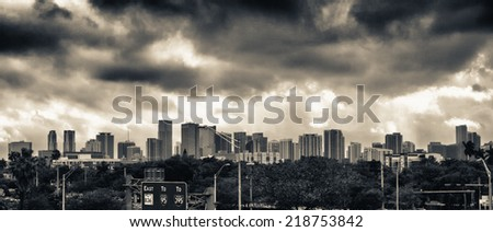 Miami skyline as seen from interstate. - stock photo
