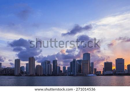 miami skyline at a sunset - stock photo
