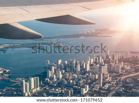Miami skyline from the airplane - Aerial view - stock photo