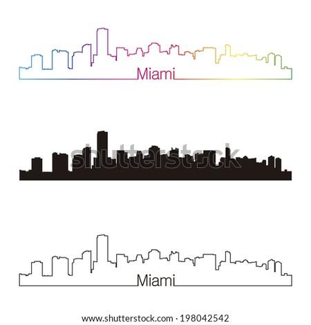 Miami skyline linear style with rainbow - stock photo