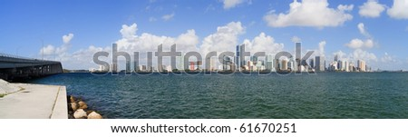 Miami Skyline Panorama from the Rickenbacker Causeway in Key Biscayne. - stock photo