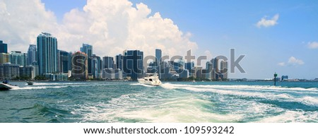 Miami skyline view from a boat on Biscayne Bay. - stock photo