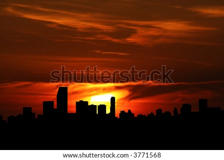 Miami Skyline With Close Up Of Sunset