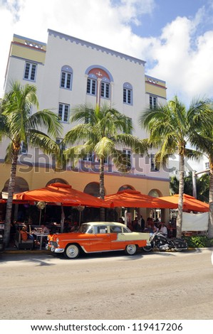 MIAMI SOUTH BEACH FLORIDA, USA - OCTOBER 29: Ocean drive buildings october 29 2012 in Miami Beach, Florida. Art Deco architecture in South Beach is one of the main tourist attractions in Miami. - stock photo