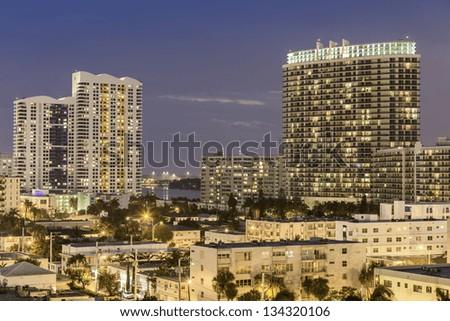 Miami south beach night street view in Florida - stock photo