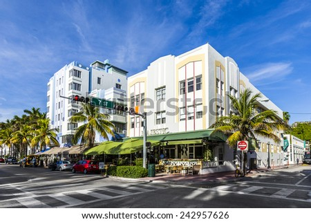 MIAMI, USA - AUG 20, 2014: Day view at Ocean drive in Miami, USA. Art Deco Life in South Beach at ocean drive is one of the main tourist attractions in Miami.
