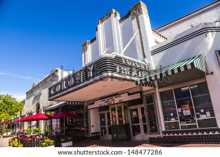 MIAMI, USA - AUG 1: Famous Colony Art Deco Theater renovated for 6,5 Million US $ and open for public again on Aug 1, 2013 in Miami, USA. Build in 1934 in art deco style to entertain the visitors. - stock photo