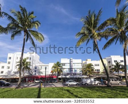 MIAMI, USA - AUG 20, 2014: The famous Ocean Drive Avenue in Miami Beach, USA. Ocean drive is the main touristic spot in Miami Beach. - stock photo