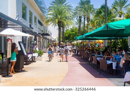 MIAMI,USA - AUGUST 8,2015: Lincoln Road, a tourist landmark and shopping boulevard in Miami Beach - stock photo