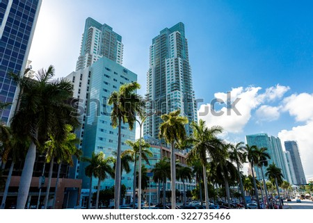 MIAMI, USA - CIRCA MAY 2015: Downtown of Miami, Florida, USA