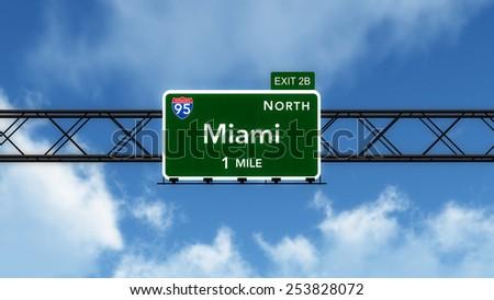 Miami USA Interstate Highway Sign 3D Illustration - stock photo