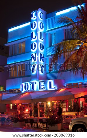 MIAMI, USA - JUNE 7, 2012: The Art Deco Colony Hotel at night on Ocean Drive. South Beach, Miami, Florida, United States of America, june 7 2012