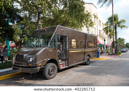 MIAMI, USA - MARCH 14, 2016: UPS van parked in South Beach. UPS is one of largest package delivery companies worldwide.