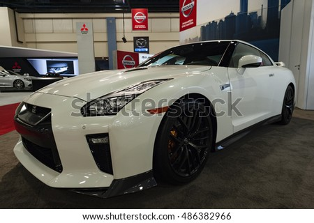 MIAMI, USA - SEPTEMBER 10, 2016: Nissan GTR on display during the Miami International Auto Show at the Miami Beach Convention Center.