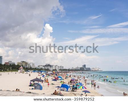 MIAMI, USA - SEPTEMBER 5, 2015. South Beach is a neighborhood of Miami Beach, Florida. - stock photo