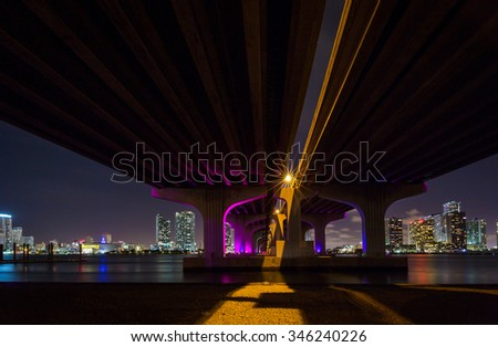 Miami viewed from under the and Macarthur Causeway - stock photo