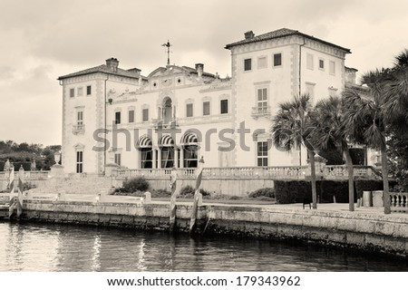 Miami Vizcaya museum at waterfront - stock photo