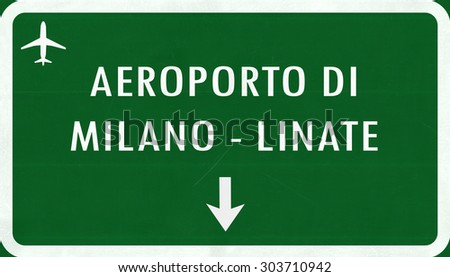Mian Linate Italy Airport Highway Sign 2D Illustration - stock photo