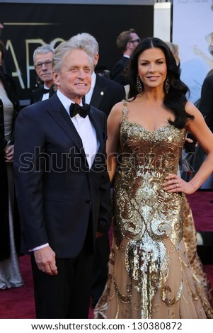 Michael Douglas, Catherine Zeta-Jones at the 85th Annual Academy Awards Arrivals, Dolby Theater, Hollywood, CA 02-24-13 - stock photo